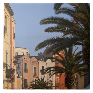 Italy, Sardinia, Cagliari. Buildings and palms Tile
