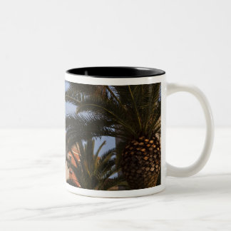 Italy, Sardinia, Cagliari. Buildings and palms Two-Tone Coffee Mug