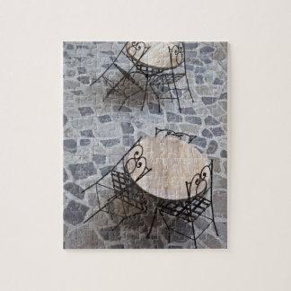 Italy, Sardinia, Castelsardo. Cafe tables. Jigsaw Puzzle