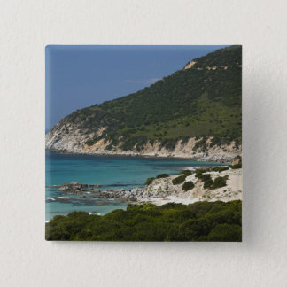 Italy, Sardinia, Solanas. Beach. 15 Cm Square Badge