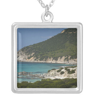 Italy, Sardinia, Solanas. Beach. Silver Plated Necklace