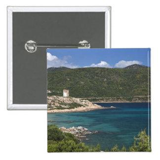 Italy, Sardinia, Teulada. Spanish tower. 15 Cm Square Badge