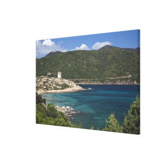 Italy, Sardinia, Teulada. Spanish tower. Canvas Print
