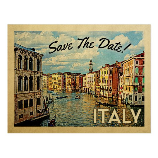 Italy Save The Date Vintage Venice Postcards