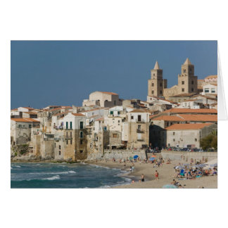 Italy, Sicily, Cefalu, Town View with Duomo from Card