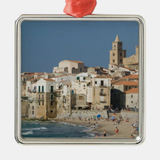 Italy, Sicily, Cefalu, Town View with Duomo from Silver-Colored Square Decoration