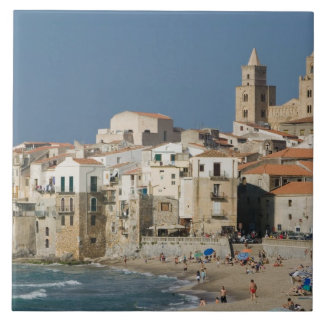 Italy, Sicily, Cefalu, Town View with Duomo from Tile