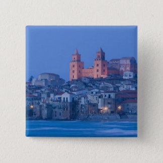 Italy, Sicily, Cefalu, View with Duomo from 15 Cm Square Badge
