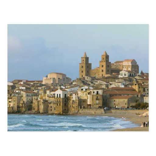 Italy, Sicily, Cefalu, View with Duomo from 2 Post Cards