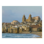 Italy, Sicily, Cefalu, View with Duomo from 2 Posters