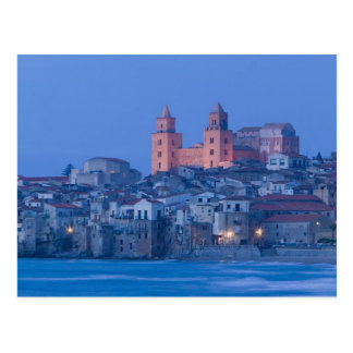 Italy, Sicily, Cefalu, View with Duomo from Postcard