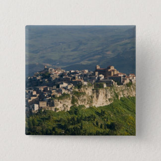 Italy, Sicily, Enna, Calascibetta, Morning View 2 15 Cm Square Badge