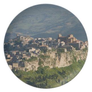 Italy, Sicily, Enna, Calascibetta, Morning View 2 Plate