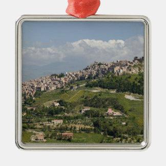 Italy, Sicily, Enna, Calascibetta, Morning View Christmas Ornament