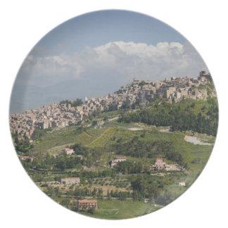 Italy, Sicily, Enna, Calascibetta, Morning View Dinner Plates