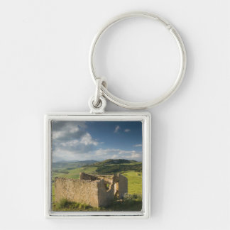 Italy, Sicily, Enna, Pergusa, Old Farmhouse Silver-Colored Square Key Ring