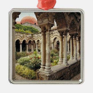 Italy, Sicily, Palermo. The cloisters survive as Silver-Colored Square Decoration