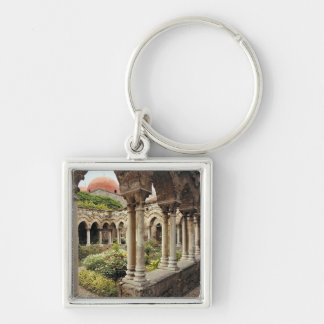 Italy, Sicily, Palermo. The cloisters survive as Silver-Colored Square Key Ring