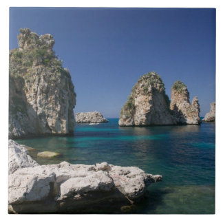 Italy, Sicily, Scopello, Rocks by Tonnara Tile