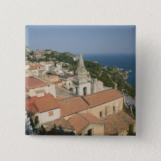 ITALY, Sicily, TAORMINA: View towards Piazza IX 15 Cm Square Badge