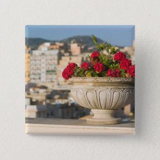 Italy, Sicily, Termini Imerese, View & Flowers 15 Cm Square Badge