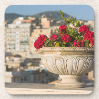 Italy, Sicily, Termini Imerese, View & Flowers Coaster