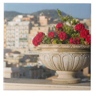 Italy, Sicily, Termini Imerese, View & Flowers Tile
