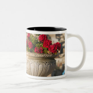 Italy, Sicily, Termini Imerese, View & Flowers Two-Tone Coffee Mug