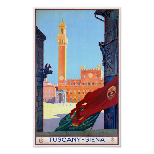 Italy Siena Vintage Travel Poster Restored
