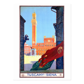 Italy Siena Vintage Travel Poster Restored Postcard