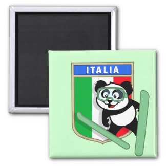 Italy Ski-jumping Panda Square Magnet