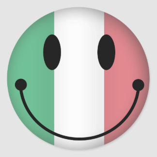 Italy Smiley Classic Round Sticker