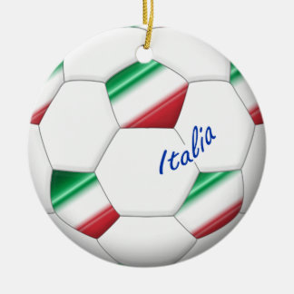 ITALY SOCCER ball and flag of the national team Round Ceramic Decoration