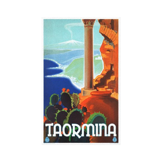 Italy Taormina Sicily Vintage Poster Canvas Print
