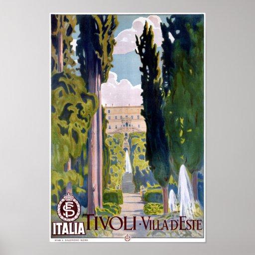 Italy Tivoli Vintage Travel Poster Restored