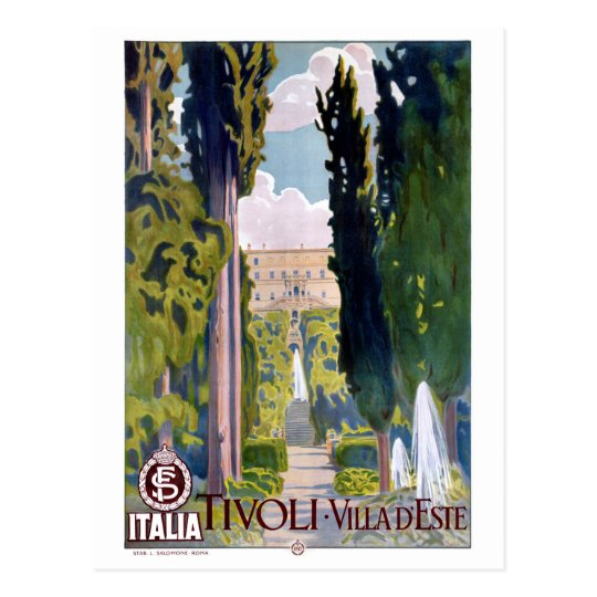Italy Tivoli Vintage Travel Poster Restored Postcard
