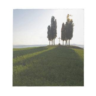 Italy, Tuscany, Cypress Trees in Tuscany with Notepad