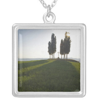 Italy, Tuscany, Cypress Trees in Tuscany with Silver Plated Necklace