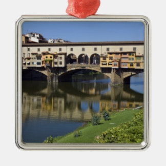 Italy, Tuscany, Florence, The Ponte Vecchio 2 Silver-Colored Square Decoration