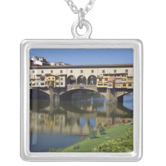 Italy, Tuscany, Florence, The Ponte Vecchio 2 Silver Plated Necklace