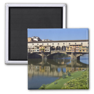 Italy, Tuscany, Florence, The Ponte Vecchio 2 Square Magnet