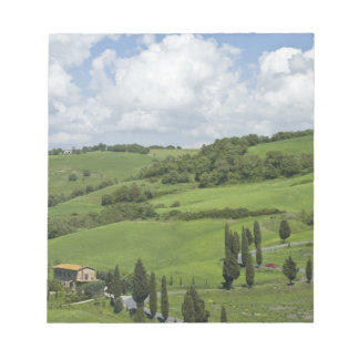 Italy, Tuscany. La Foce. A curved road winds up Notepad