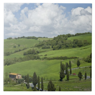 Italy, Tuscany. La Foce. A curved road winds up Tile