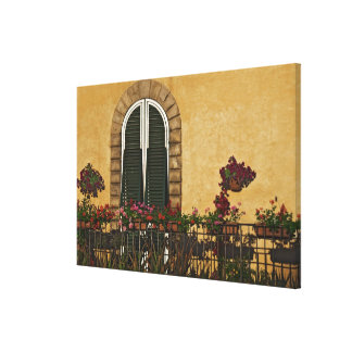 Italy, Tuscany, Lucca. Balcony decorated with Canvas Print