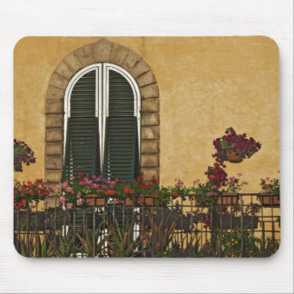Italy, Tuscany, Lucca. Balcony decorated with Mouse Mat