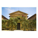 Italy, Tuscany, Old Rose Covered Church in