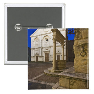 Italy, Tuscany, Pienza. Cathedral facade and 15 Cm Square Badge