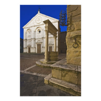 Italy, Tuscany, Pienza. Cathedral facade and Photo Print