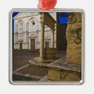 Italy, Tuscany, Pienza. Cathedral facade and Silver-Colored Square Decoration