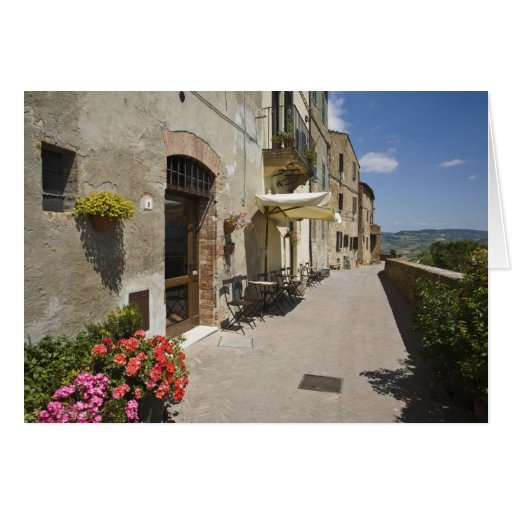 Italy, Tuscany, Pienza. Outer walkway around Greeting Card